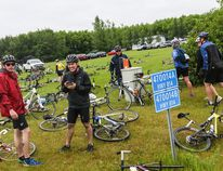 Cyclists dumped their bikes on the lawn of the Wetaskiwin Seventh-Day Adventist Church, just north of the city, as they stopped for lunch on the second day of the Johnson MS Bike Tour July 10. (Sarah O. Swenson/Wetaskiwin Times)