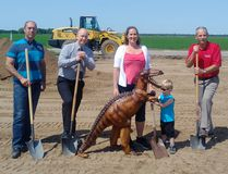 Project manager Joe Klassen, co-owners Chris and Dana MacPherson, mayor Ken Wiebe and Sharpie broke ground on the upcoming indoor play centre Sharptooth Adventures on June 6. (REG BRAUN)