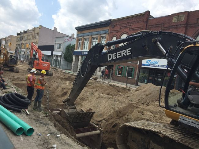 Crews from Birnam Excavating Ltd. were already well into Phase 2 of the Talbot Street reconstruction project this week. The project started this week and is expected to be completed in August. (Laura Broadley/Times-Journal)