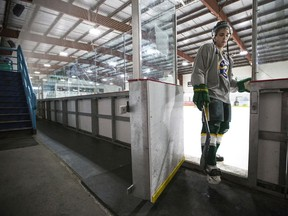 Sports Broncos Brayden Camrud- Humboldt Bronco bus crash survivor Brayden Camrud during some ice time at Harold Latrace Arena in Saskatoon, SK on June 4,