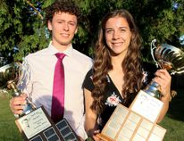 Alec McGregor, left, of McGregor and Lauren Edwards of Ridgetown win the Dr. Jack Parry Awards during the 25th annual ceremony at the Ursuline College Chatham theatre in Chatham, Ont., on Thursday, June 14, 2018. (MARK MALONE/Chatham Daily News/Postmedia Network)