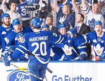 Toronto Marlies teammates congratulate Mason Marchment, son of former Belleville Bulls defenceman Bryan Marchment, after one of his two goals in Game 7 of the Calder Cup final Thursday night at Ricoh Coliseum. (Toronto Marlies photo)