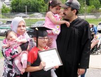 Youssef Al Masri (right) and his family after the graduation ceremony at Seven Generations Education Institute in Kenora on Wednesday, June 13. RYAN STELTER/DAILY MINER AND NEWS