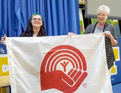Caterina Dawson, left, was announced as this year's United Way campaign chair on Friday at École secondaire catholique de Pain Court. She's shown with Karen Kirkwood-Whyte, United Way of Chatham-Kent CEO. (Trevor Terfloth/The Daily News)
