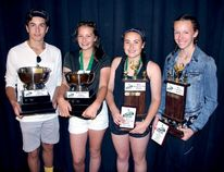 Sean Chase/Daily Observer Valour High School close the 2017-18 school year awarding their athletic best. In the photo are (left to right) Sean Doughty (midget athlete of the year), Bobbi Lavoie (midget female athlete of the year), Remi Lavoie (most sportsmanlike athlete), and Jessica Yemen (most coachable athlete).