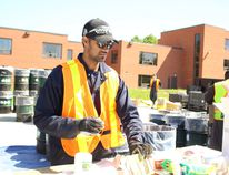 Biyash Murugesa organizes contains at the hazardous waste on Saturday, June 16.