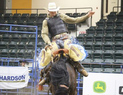 The Portage Stampede was at Stride Place over the weekend. Anthony Potvin from Austin was riding Hail Storm in the saddlebronc event. (Aaron Wilgosh/The Graphic)