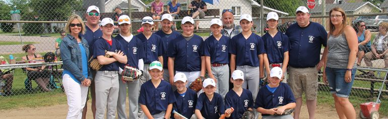 The Stafford Steelers hosted a friendly fastball tournament at Stafford Park on June 15 and 16. Pictured in front (from left) are Austin Roggie, Dawson Levair, Landon MacKay, Austin Lemmon and Kaden Blais. In second row (from left) are Brum's Dairy manager Shauna Wagner, coach Jason Laronde, Mitchell Ring, Travis St-Amour, Nolan Ranger, Jarrett Stewart, Bryce Maahs, Emmitt Robilard, Nic Schofield, Aiden Bramburger, assistant coach Devin Maahs and team manager Vicki Hoffman Team manager. In third row is assistant coach Randy Blais.