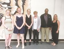 This year saw four recipients named for the 2018 Namand Payne Memorial Scholarship. The winners were Payton May, Nadia van Bruinessen, Jolene Vlieg and Derek Parker. (L-r) May, van Bruinessen and Vlieg were joined by Scholarship Committee members Betty Payne, Danny Payne and Gina Payne for a photo. Parker was not available for the photo. (Submitted)