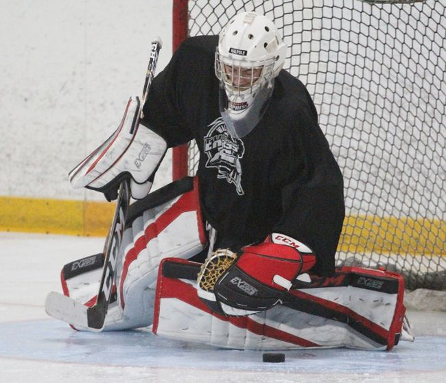 About 40 players were on the ice at the Rotary Complex this past weekend for the Stratford Warriors' spring camp. (Cory Smith/The Beacon Herald)