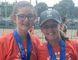 Lauryn Lahey, left, and Kenzie Lahey of Chatham, Ont., won silver in the 13U girls' premier division at an OVA beach tournament in Windsor, Ont., on Saturday, June 16, 2018. (Contributed Photo)