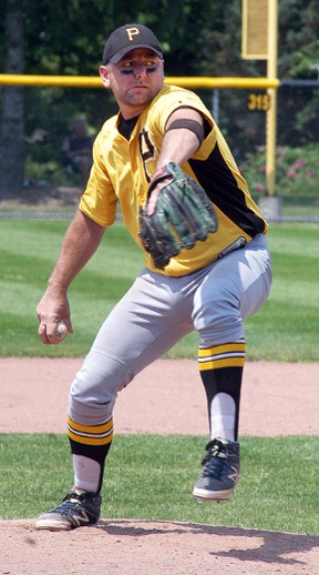 Port Lambton Pirates pitcher Brian Reid pitches in the Port Lambton senior men's baseball tournament held on the weekend at VanDamme Park. The Pirates went 5-0 to win the championship.