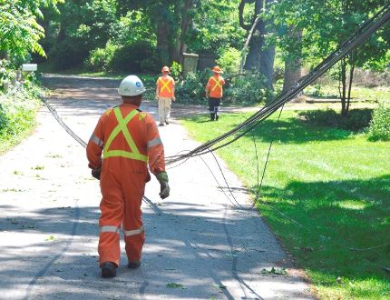 """Hydro workers inspect downed wires along Hill Road in Port Stanley a day after heavy storms wreaked havoc in the lakeside town. One resident on Hill Street said she had """"never seen anything like it"""" in the 25 years she's lived there. (Louis Pin/Times-Journal)"""