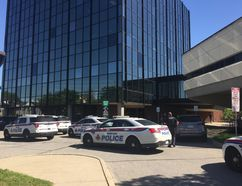 North Bay Police officers currently at city hall where a lockdown has ensued. Christian Paas-Lang, The Nugget