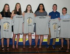 Tina Peplinskie / Daily Observer: A special group of graduating students were recognized for contributions to Bishop Smith athletics throughout their high school careers. Honoured as Crusaders for Life (from left) are Abby Strachan, Caleigh McMullan, Rhylee Lawlor, Ella Mulvihill, Erick Plazek and Aiden Strachan.