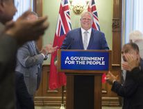 Premier-designate Doug Ford addresses his caucus and the media at Queen's Park in Toronto, Ont. on Tuesday June 19, 2018. Stan Behal / Postmedia Network
