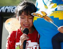 In this Monday, June 18, 2018 file photo, Akemi Vargas, 8, cries as she talks about being separated from her father during an immigration family separation protest in front of the Sandra Day O'Connor U.S. District Court building in Phoenix. Child welfare agencies across America make wrenching decisions every day to separate children from their parents. But those agencies have ways of minimizing the trauma that aren't being employed by the Trump administration at the Mexican border. AP Photo/Ross D. Franklin, File