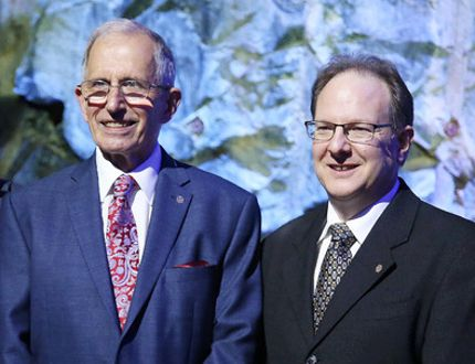 Science North recognized two of Sudbury's distinguished scientists as Honorary Life Members on Tuesday night. Douglas Hallman, second left, and Amadeo Parissenti, second right, were celebrated at a dinner and ceremony. Gino Donato/The Sudbury Star/Postmedia Network