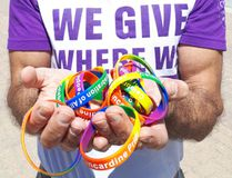 Kincardine Pride president Fort Papalia shows off the rainbow bracelets being handed out to supporters with a message the June 23, 2018 event is a 'Celebration of All People'. (Troy Patterson/Kincardine News and Lucknow Sentinel)