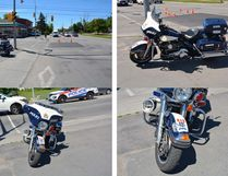 Damage to a Kingston Police motorcycle after a pick up was driven through a red light Tuesday morning. Supplied photo
