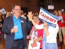 Chatham mayoral candidate Darrin Canniff is greeted by supporters as he makes his way to the stage during his campaign launch party in Chatham, Ont., on Wednesday, June 20, 2018. (ELLWOOD SHREVE/Chatham Daily News/Postmedia Network)