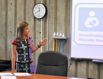 Marnie Van Vlymen, program manager of infant and child health at the Chatham-Kent Public Health Unit, gives a presentation on the Baby Friendly Initiative during a Chatham-Kent Board of Health meeting on Wednesday. Tom Morrison/Chatham This Week
