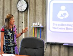 Marnie Van Vlymen, program manager of infant and child health at the Chatham-Kent Public Health Unit, gives a presentation on the Baby Friendly Initiative during a Chatham-Kent Board of Health meeting Wednesday, June 20, 2018. (Tom Morrison/Postmedia Network)