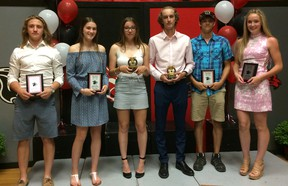 Among the athletes honoured at Paris District High School's annual athletic awards banquet are Nic Mahlman (left), Kate Sitak, Rachel Woods, Ethan Beach, Zane Szentimrey and Jourdyn Forsyth. (Submitted Photo)
