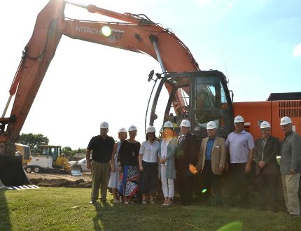 Volunteers, donors and dignitaries gathered at the site of the future Stratford Perth Rotary Hospice Thursday evening for its official ground-breaking ceremony. (Galen Simmons/The Beacon Herald)