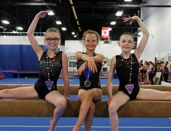 Dancemakers gymnasts from left to right, Ivy Graham, Julia Law and Charlotte Woodhouse each won a medal at provincials in London earlier this month. Dancemakers athletes had 40 top-10 finishes at the provincial meet. Greg Cowan photo/The Sun Times.