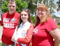 Katie Hellewell, 15, of Waterford, left for Spain on Thursday to compete in the World Cup of Dance. Accompanying Hellewell are parents John Dellaire and Stacy Hellewell. MONTE SONNENBERG / SIMCOE REFORMER