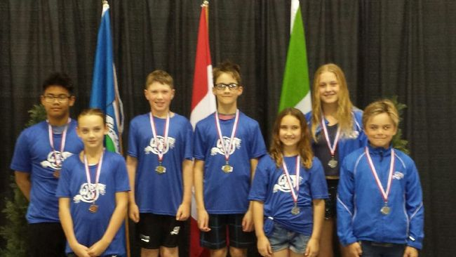 Seven Olympians earned aggregate medals at the recent invitational meet in Sherwood Park. (Supplied)