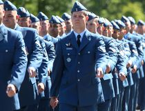 Tim Miller/The Intelligencer Members of 436 Transport Squadron march through Bain Park on Friday in Quinte West. The squadron recently added the Afghanistan Battle Honour to its colours.