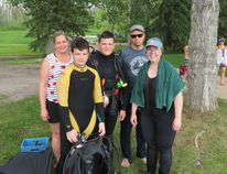 Members of the Wet and Wild Scuba Diving Society joined together on June 16 for the first clean up of two at Gregoire Lake. The second event takes place on June 24 at the Anzac beach. SUPPLIED PHOTO