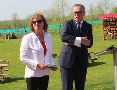 BRUCE BELL/THE INTELLIGENCER Prince Edward County Coun. Dianne O'Brien has announced she will run for mayor in the October municipal election. She is pictured here as acting mayor with MP Neil Ellis during a May announcement at Three Dog Winery.