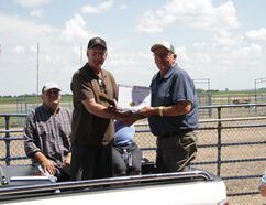 Blaine Pedersen presented Huntley Knox with a certificate from the Manitoba Legislative Assembly at the Miami Fair and Rodeo Saturday, June 23. (THOMAS FRIESEN)