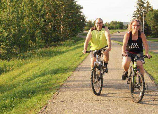 Scott and Charlene Parker went cycling on the hot evening of June 24 along the dike in the north end of Peace River.