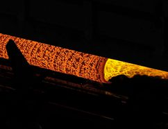 A steel billet is pierced during the hot rolling process to create a seamless pipe at the Tenaris pipe mill Wednesday, June 6, 2018, in Bay City, Texas. Tenaris, which imports steel from it's facilities around the world, is seeking an exemption from the steel tariff. (AP Photo/David J. Phillip)