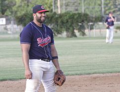 It was all smiles for Manny Lantigua after a bases-clearing double to help beat the Winkler Whips 10-2 Friday, June 29 in Morden. (THOMAS FRIESEN, Morden Times)