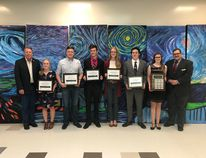 The recipients of the 2018 Dr. Lloyd Cavers Scholarship, awarded to high school students demonstrating exceptional leadership. Avery Sheldon, a J.T. Foster student, is pictured second from right. In addition to the other award recipients, at left is Livingstone-Macleod MLA Pat Stier and at right is Brad Toone, chair of the LRSD's board.