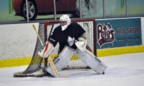 Devyn Clark minds the net during a London Nationals prospect camp earlier this offseason. Clark will contend for the starting goaltending position in Lucan in 2018-19. (Handout/Exeter Lakeshore Times-Advance)