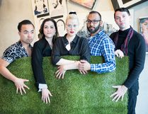 Sarnia's Lauren MacKinlay and Carson Pinch are in the cast of The Grass is Greenest at the Houston Astrodome, a play running as part of the Toronto Fringe Festival. The cast includes, from left, Adrian Rebucas, MacKinlay, Anne van Leeuwen, Richard Young and Pinch. The submitted photo was taken by Megan Terris. (Handout/The Observer)