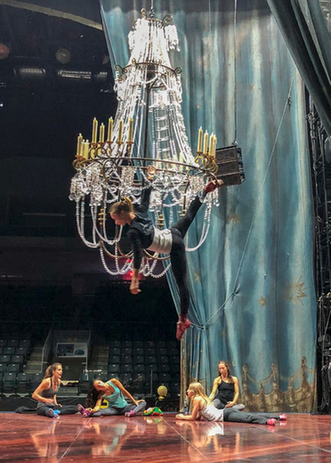 Aerial cast members who perform on the chandelier in the Cirque du Soleil's newest show Corteo are seen rehearsing during the media tour at the Leon's Centre in Kingston, Ont. on Wednesday July 4, 2018. Corteo performances run July 4-8. Julia McKay