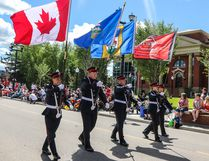 Wetaskiwin Fire Services' honour guard helps lead the way during the local Canada Day parade. (Sarah O. Swenson/Wetaskiwin Times)