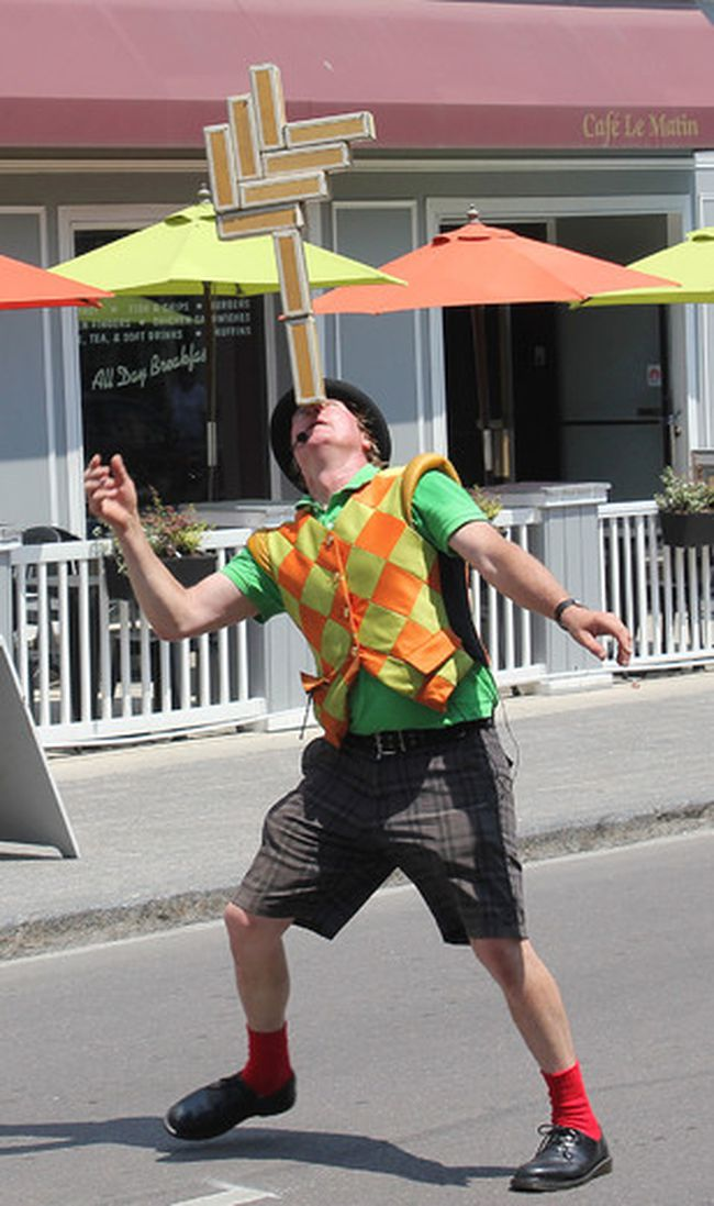 Circus Jonathan performs on Princess St. on Thursday July 6 2018, the first day of the Kingston Buskers Rendezvous for his fifth time at the Kingston Busker Rendezvous. Circus Jonathan was in Kingston for the first ever busker event 30 years ago.. Brigid Goulem/The Whig-Standard/