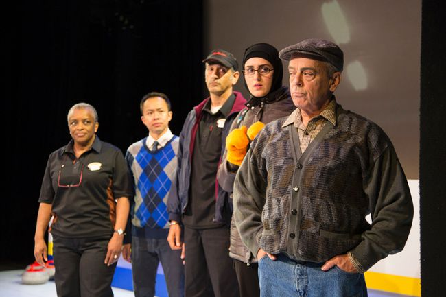 Marcia Johnson as Charmaine Bailey, Matthew Gin as Mike Chang, Omar Alex Khan as Anoopjeet Singh, Parmida Vand as Fatima Al-Sayeed, and Lorne Kennedy as Stuart MacPhail in The New Canadian Curling Club, a play written by Mark Crawford and directed by Miles Potter, which opened the 44thseason of the Blyth Festival on June 22. (Courtesy of Terry Manzo)
