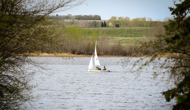 Clarification on interpreted support from Lacombe County regarding the Northwest Area Stormwater Management Plan, which would see stormwater filtered into Lacombe Lake (pictured above),  was issued by the Town of Blackfalds on Friday.  (Ashli Barrett/Lacombe Globe)