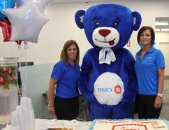 <p>BMO regional vice-preisdent Teresa Pagnotta, the BMO Bear and branch manager Patty Strader welcomed clients and visitors alike at the new branch on Ninth Street, during its official opening on Saturday July 7, 2018 in Cornwall, Ont.</p><p> Lois Ann Baker/Cornwall Standard-Freeholder/Postmedia Network