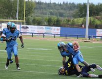 The Fort McMurray Monarchs shutdown the Grande Prairie Drillers 92-0 in their game on Saturday, July 7, 2018, at Shell Place in Fort McMurray, Alta. Laura Beamish/Fort McMurray Today/Postmedia Network