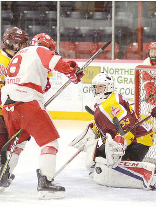 Timmins Majors goalie Dylan Dallaire, in Great North Midget Hockey League action against the Soo Greyhounds during the 2017-2018 season.